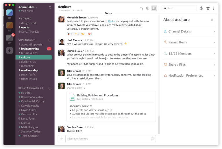 Slack chat demo
