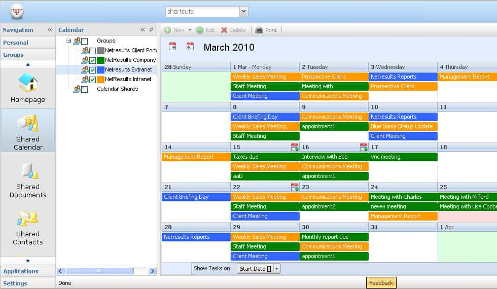 group schedule calendar